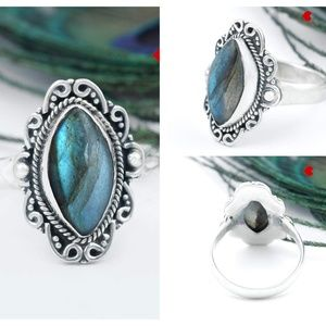 Labradorite Stone Ring 925 Sterling Silver Crystal